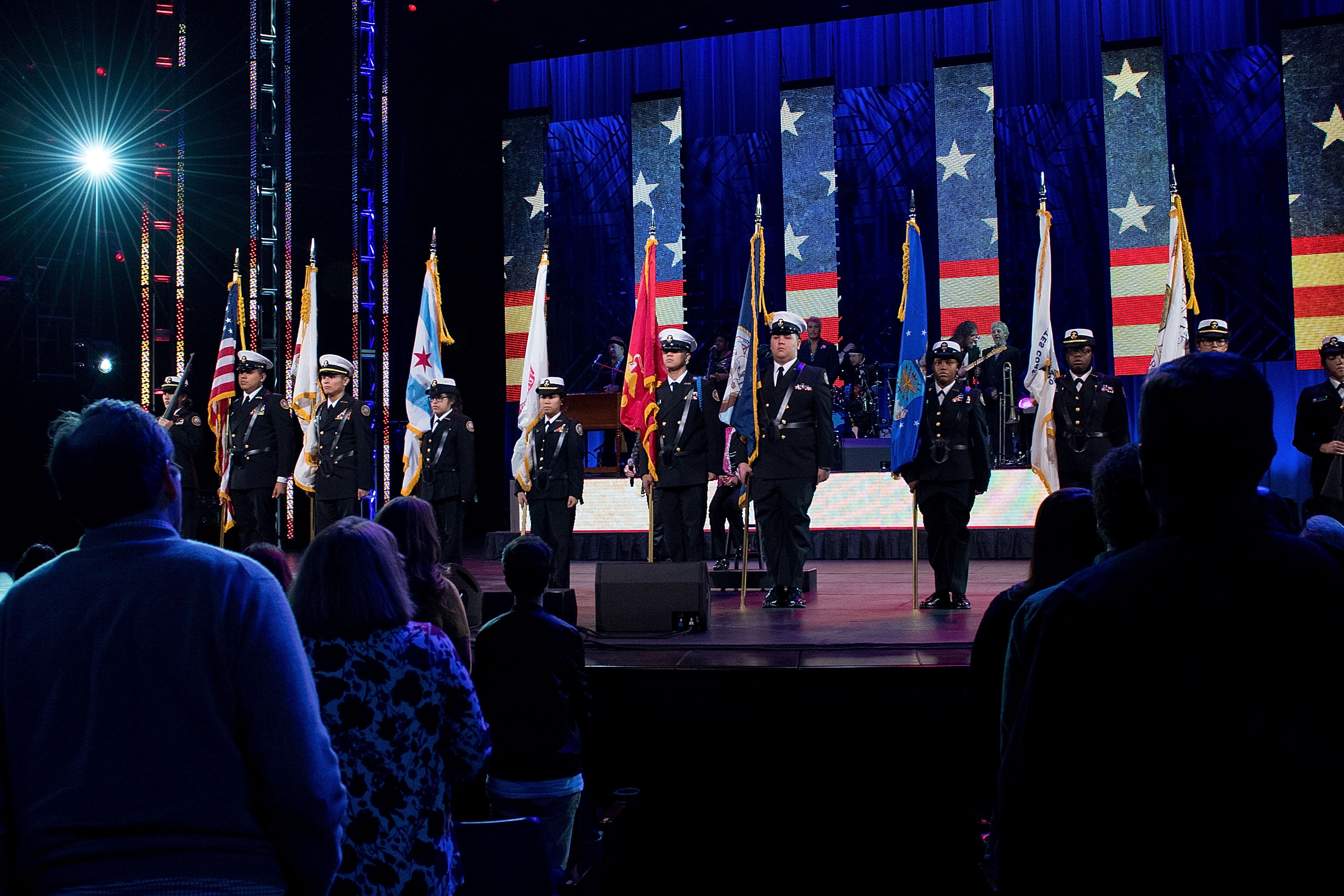 "CHICAGO, IL - NOVEMBER 12: A view of the stage at the ""America Salutes You"" Concert Honoring Military, Veterans, And Their Families at Rosemont Theatre on November 12, 2016 in Chicago, Illinois. (Photo by Daniel Boczarski/Getty Images for Civic Entertainment)"