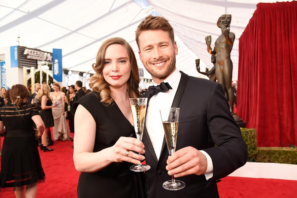 LOS ANGELES, CA - JANUARY 29: Champagne Tattinger Global Spokesperson and Artistic Director Vitalie Taittinger (L) and Glen Powell attend The 23rd Annual Screen Actors Guild Awards at The Shrine Auditorium on January 29, 2017 in Los Angeles, California. 26592_011 (Photo by Kevin Mazur/Getty Images for TNT)